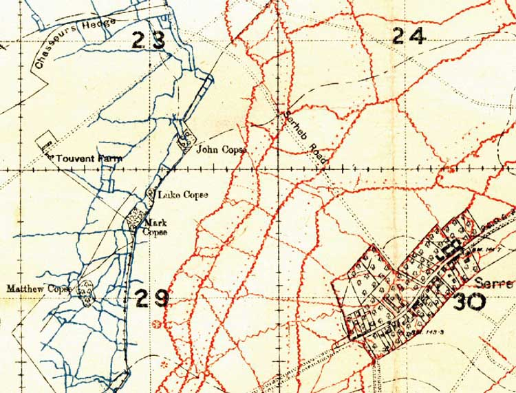 TrTrench Map of the Serre Area | World War One Battlefields